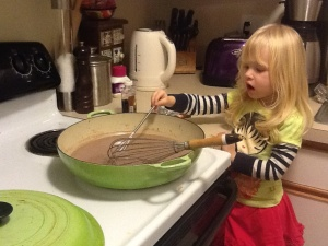 Stirring chocolate pots