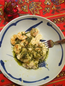 Pesto Shrimp over Mash