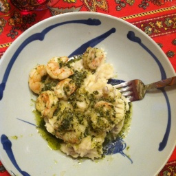 Pesto Shrimp over Mash